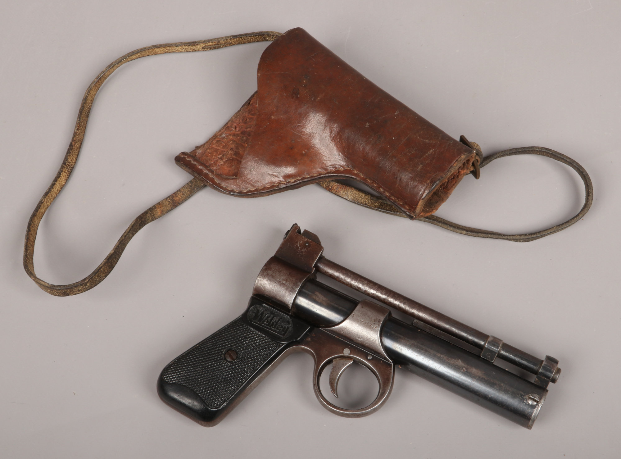 WEBLEY JUNIOR WITH LEATHER HOLSTER